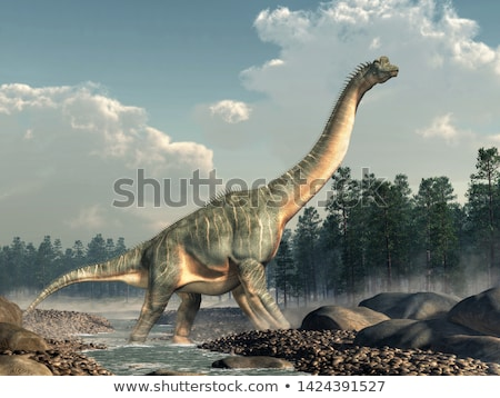 Brachiosaurus dinosaurs in water - 3D render Stock photo © Elenarts