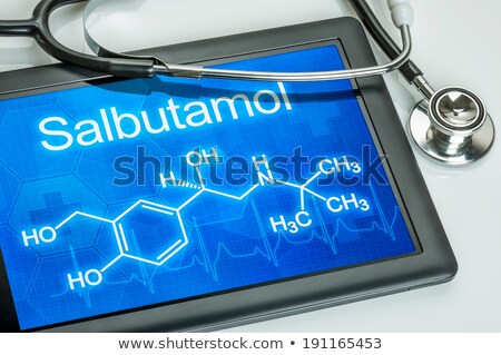 tablet with the chemical formula of salbutamol stock photo © zerbor