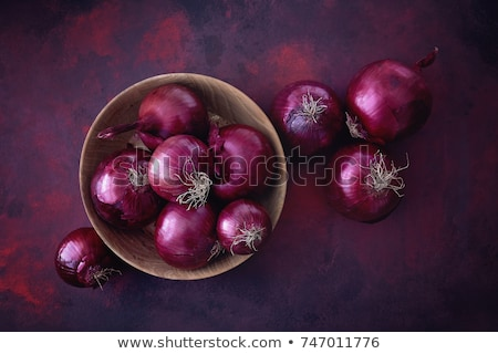 red sliced onion and fresh parsley still life stock photo © natika