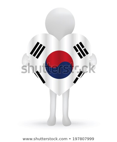 small 3d man holding a South Korean Flag Stock photo © Istanbul2009