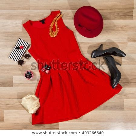 Vörös ruha bolt üzlet szoba csoport bolt Stock fotó © artjazz