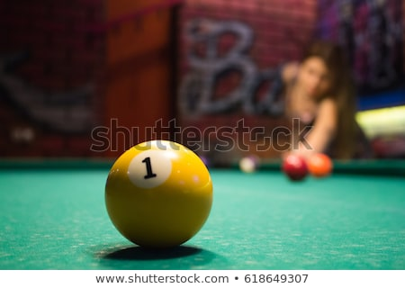 girl with cue and billiard-balls Stock photo © 26kot