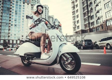 kék · moped · motorkerékpár · izolált · fehér · városi - stock fotó © papa1266