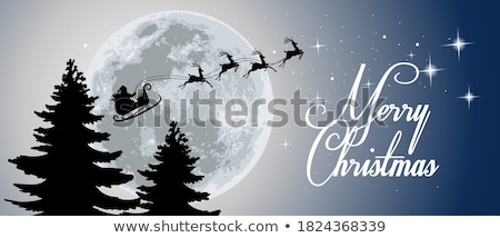 santa with sleigh and reindeer vector stock photo © beaubelle