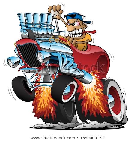 Grappig oude auto cartoon oog gelukkig sport Stockfoto © 5xinc