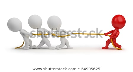 3d small people   rope pulling stock photo © anatolym