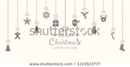 Silver christmas decoration on snow with wishes card and cookie  stock photo © dla4