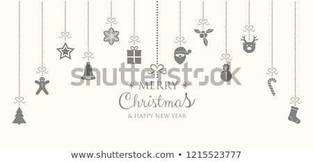 銀 · クリスマス · 装飾 · 雪 · カード - ストックフォト © dla4