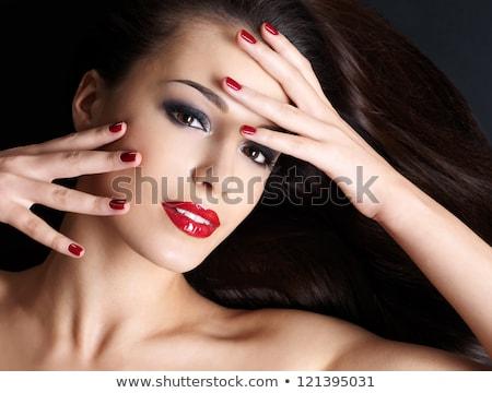 Stockfoto: Beautiful Woman With Long Brown Hair Closeup Portrait Of A Fashion Model Posing At Studio