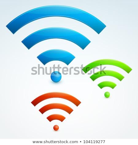 Radio signaal groene vector knop icon Stockfoto © rizwanali3d