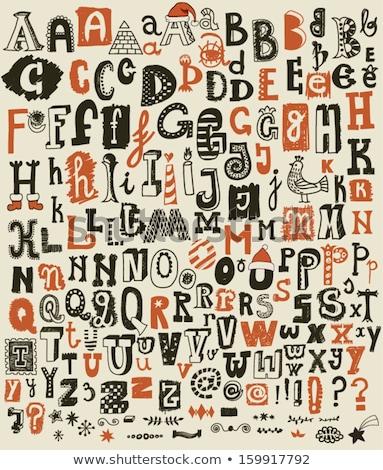ヴィンテージ · アルファベット順の · フォント · 手描き · スケッチ · アルファベット - ストックフォト © elenapro