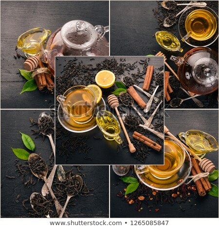 Stock photo: Collage of photos with black tea