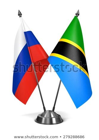 Russland Tansania Miniatur Fahnen isoliert weiß Stock foto © tashatuvango