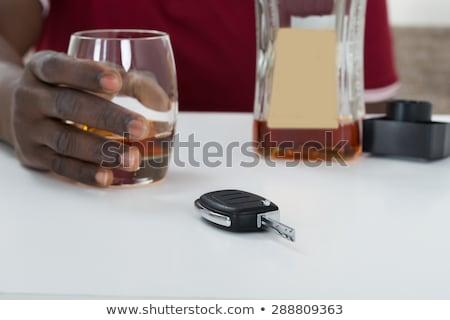 sarhoş · adam · araba · şişe · bira · yol - stok fotoğraf © andreypopov
