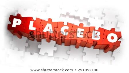 Stock fotó: Placebo · fehér · szó · piros · 3d · render · puzzle