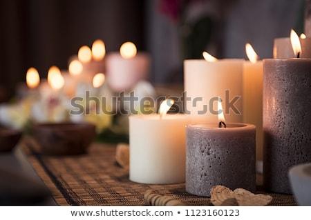 Сток-фото: романтические · Spa · свечей · сжигание · группа · темно