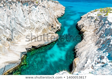 Sarakiniko beach view at the island of Milos in Greece Stock photo © ankarb