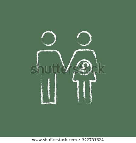 husband with pregnant wife icon drawn in chalk stock photo © rastudio