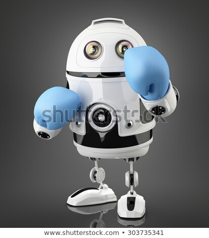 Robot with blue boxing gloves. Isolated. Contains clipping path. Stock photo © Kirill_M
