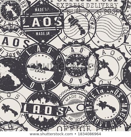 Laos land vlag kaart vorm tekst Stockfoto © tony4urban