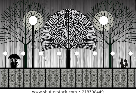 Vector silhouettes man, women and lamppost Stock photo © -TAlex-