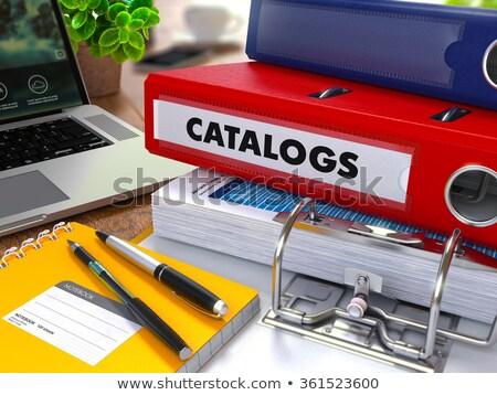 Rood · ring · opschrift · informatie · werken · tabel - stockfoto © tashatuvango