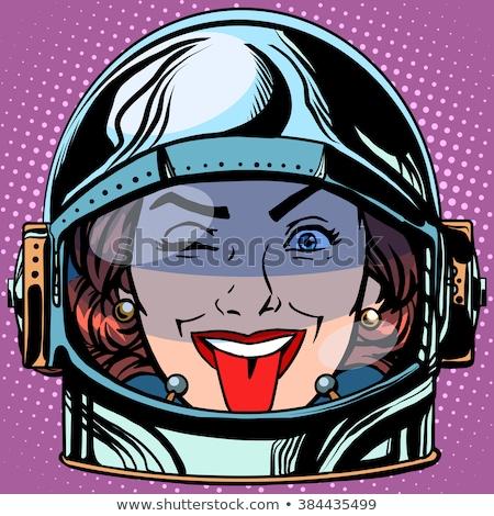 emoticon tongue emoji face woman astronaut retro stock photo © studiostoks