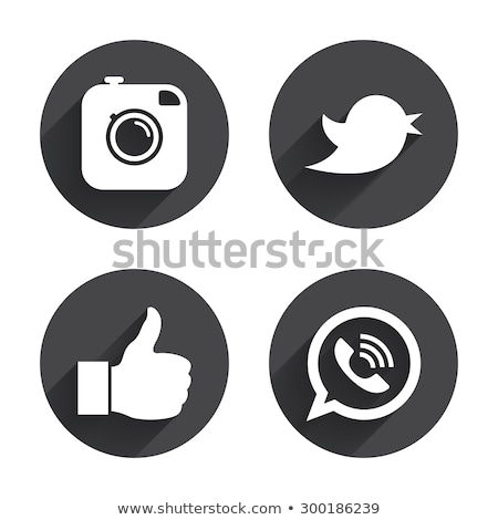 social media black icons set stock photo © genestro