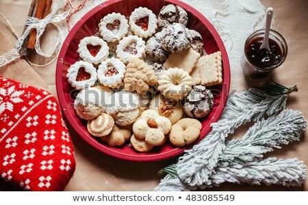taza · chocolate · cookies · batidor · azul - foto stock © ozgur