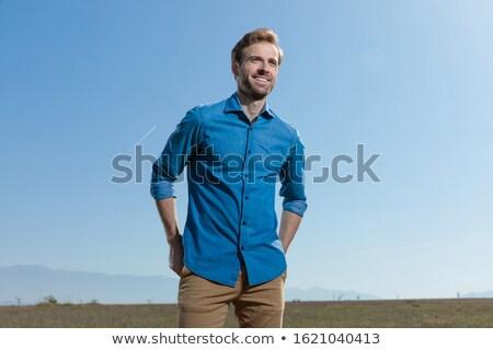 man in blue shirt looking ahead Stock photo © feedough