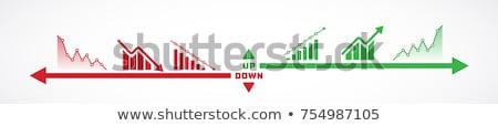 Foto stock: Gráfico · de · barras · hasta · abajo · flechas · vector · diseno