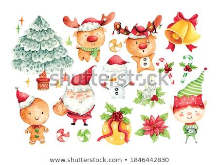 cute · vector · winter · iconen · christmas · symbolen - stockfoto © sahua