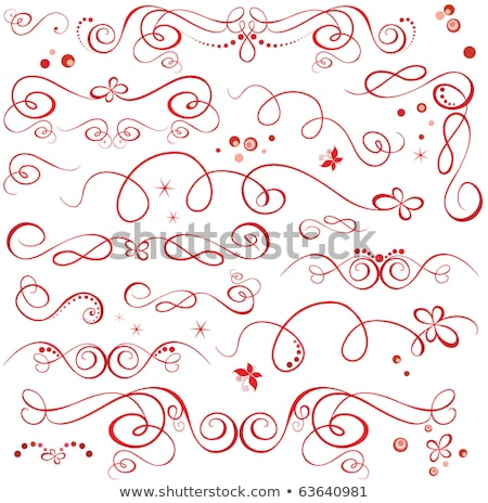 the vector silhouette on red swirl stock photo © sdmix