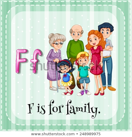 Flashcard letter F is for family Stock photo © bluering