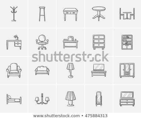 Garderobe spiegel schets icon vector geïsoleerd Stockfoto © RAStudio