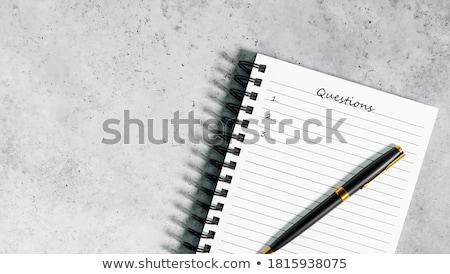 ストックフォト: 質問 · 文字 · 帳 · 青 · ペン · 表