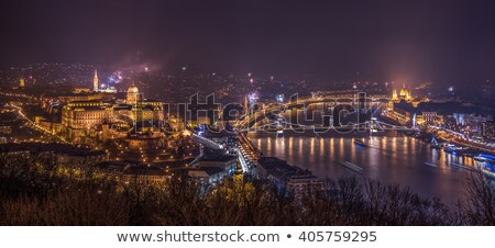 royal palace and fireworks at night in budapest hungary stock photo © kayco