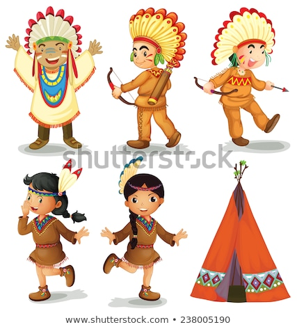 Many native american indians in costumes Stock photo © bluering