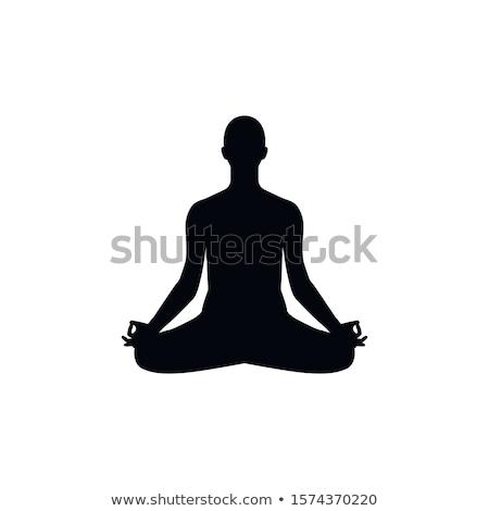 ikon · Buda · siluet · doğrusal · stil · sanat - stok fotoğraf © comicvector703