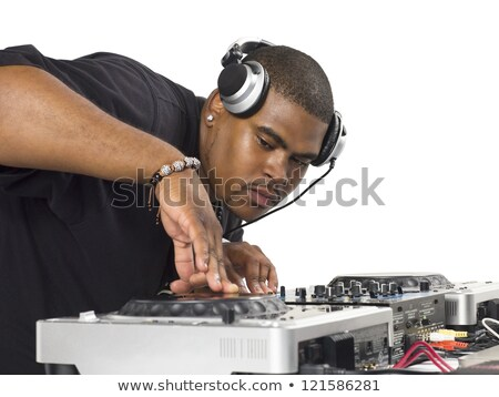 DJ playing music from discs jockey machine Stock photo © bluering