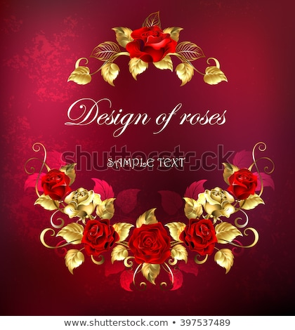 Symmetrical garland of gold and red roses stock photo © blackmoon979