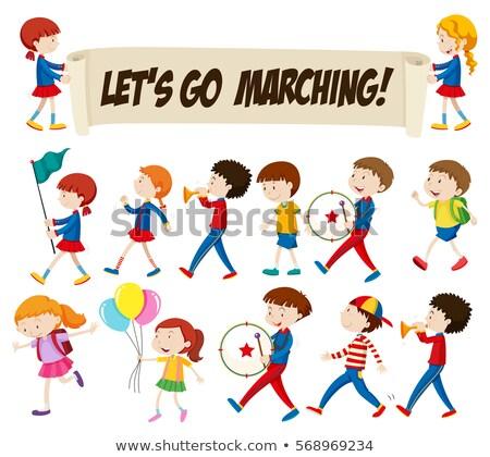 música · crianças · ilustração · crianças · brincando · notas · musicais · criança - foto stock © bluering