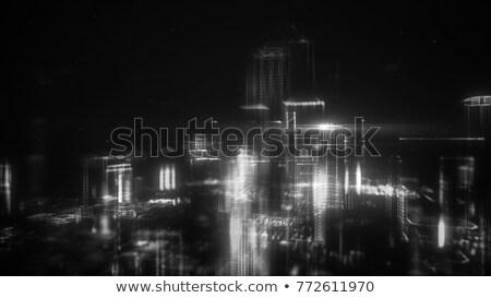 Edifício preto partículas abstrato arranha-céu explosão Foto stock © SArts