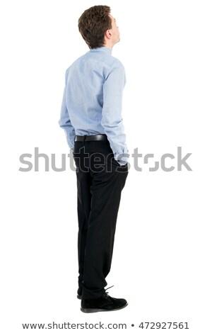 Concentrato giovani imprenditore posa bianco foto Foto d'archivio © deandrobot