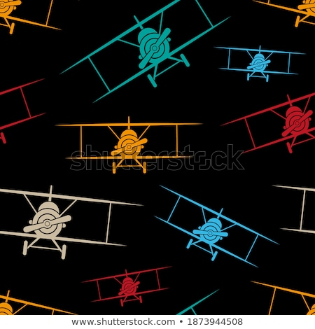 Fényes retro kétfedelű repülőgép színes klasszikus repülés Stock fotó © sharpner