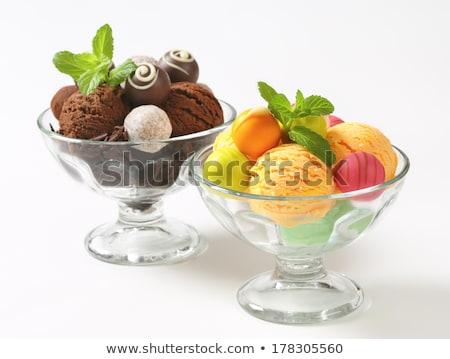 Сток-фото: мороженым · белый · шоколадом · фрукты · продовольствие · оранжевый