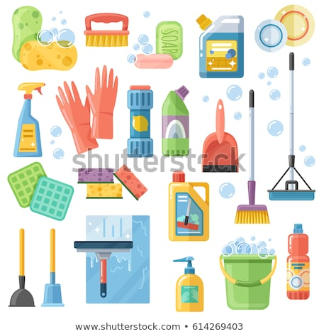 Cleaning Accessory. washing brush and plunger. bucket and floorc Stock photo © MaryValery