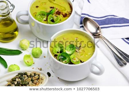 ストックフォト: クリーム · スープ · プレート · 野菜スープ · 緑 · 白