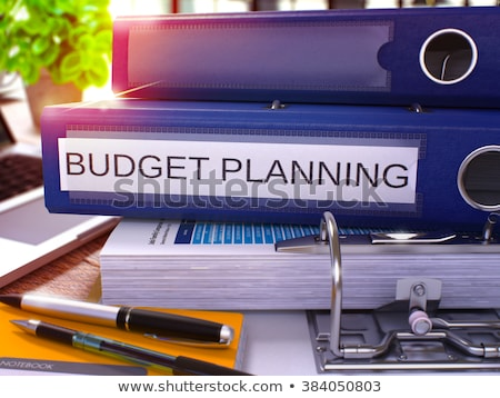 Kék gyűrű felirat költségvetés tervez dolgozik Stock fotó © tashatuvango