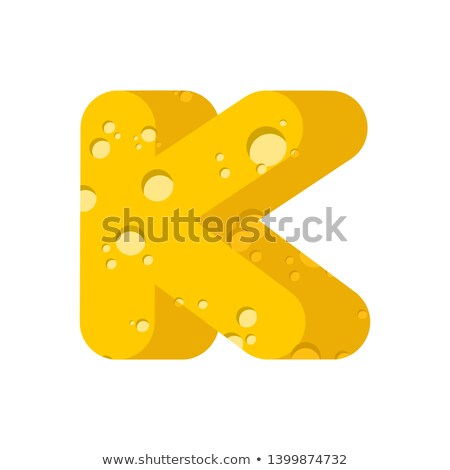 Letter K cheese font. Symbol of cheesy alphabet. Dairy Food type Stock photo © popaukropa